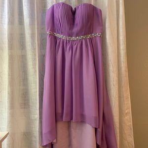 Purple Hi-Lo Homecoming Dress